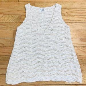 Madewell Crocheted Sweater Tank in Cream, XXS, EUC